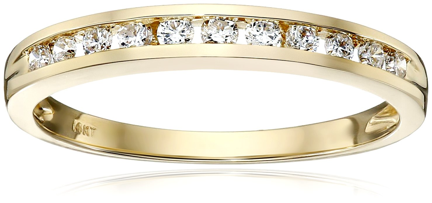 14k Yellow Gold Round Diamond Anniversary Band (1/4 cttw, I-J Color, I2-I3 Clarity), Size 6