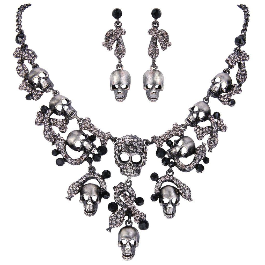 EVER FAITH Halloween Vintage Style Skull Snake Necklace Earrings Set Black Austrian Crystal
