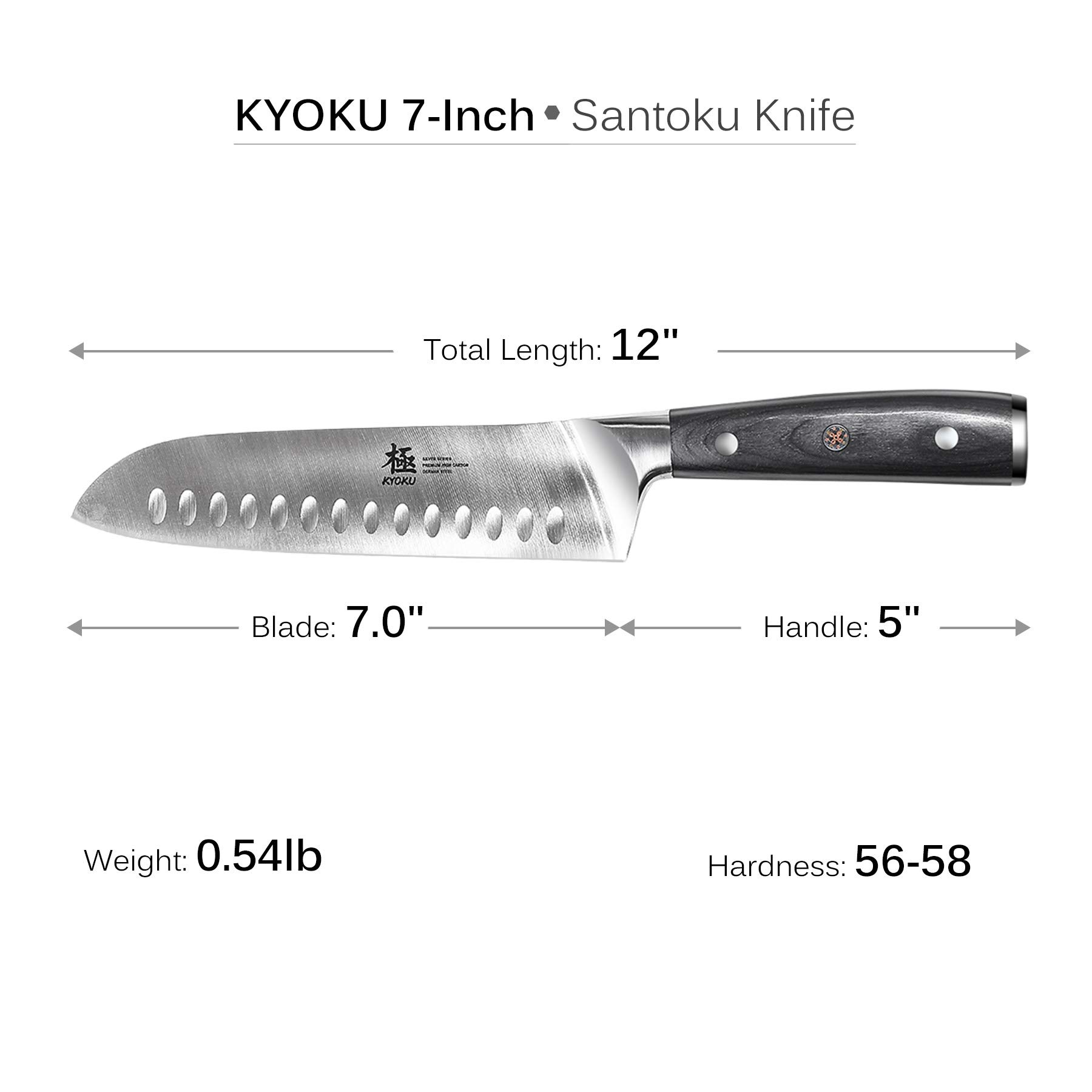 KYOKU Samurai Series - Santoku Chef Knife 7'' with Sheath & Case - Full Tang - Japanese High Carbon Steel - Pakkawood Handle with Mosaic Pin by KYOKU (Image #4)