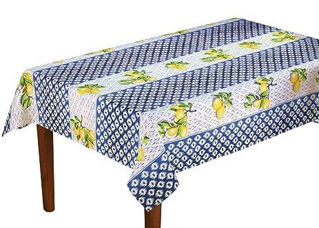 Lemon Trellis Patterned Tablecloth, Blue, 60u0026quot; ...