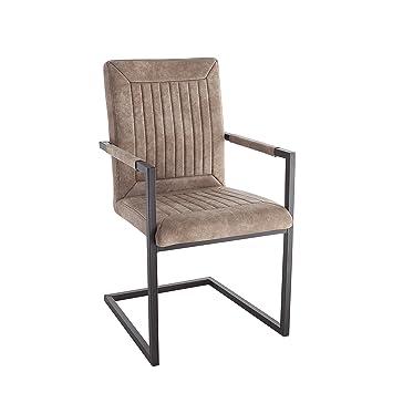 Design Freischwinger Stuhl BRISTOL Beige Mit Armehne Esszimmerstuhl Esszimmer  Stuhl
