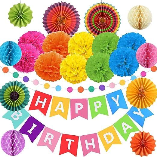 FOGAWA Decoracion de Cumpleaños de Fiesta 10 Pompones de Papel Seda 1 Guirnalda Feliz Cumpleaños 6 Abanicos de Papel 4 Bola de Nido de Abeja con ...