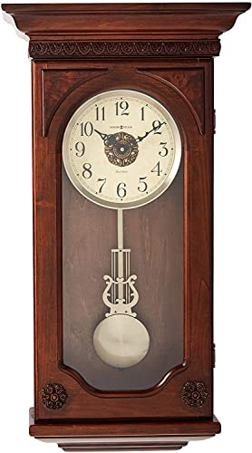 Howard Miller Jasmine Wall Clock 625-384 Hampton Cherry with Quartz, Dual-Chime Movement
