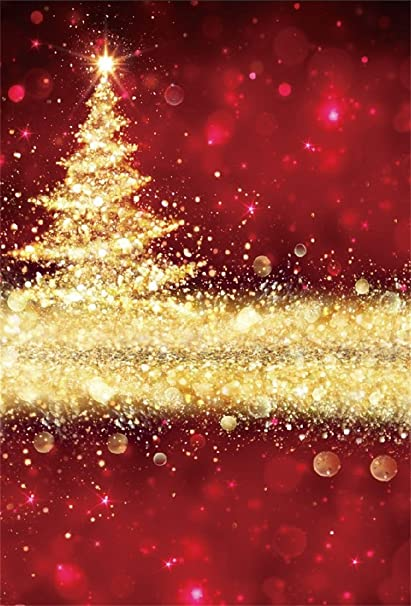 Csfoto 4x6ft Background For Abstract Golden Christmas Tree Red Photography Backdrop Sparkle Gold Confetti Glowing Bokeh Ornament Xmas Holiday