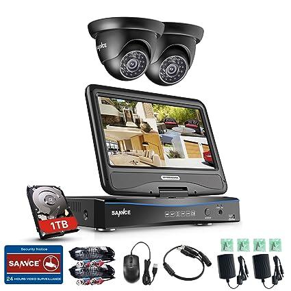 SANNCE Kit de Seguridad 4CH DVR con Monitor y 2 Cámaras de vigilancia 720P(Onvif