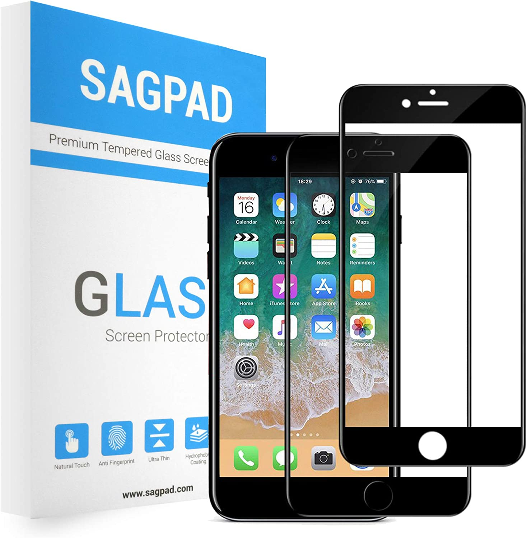 SAGPAD [2 Piezas] Cristal Templado para iPhone 6 Plus/ 6s Plus, Cubierta Completa Vidrio Templado 9H Protector Pantalla Premium, Anti-Huella Digital, Anti-Burbujas par 6 Plus / 6s Plus (Negro)
