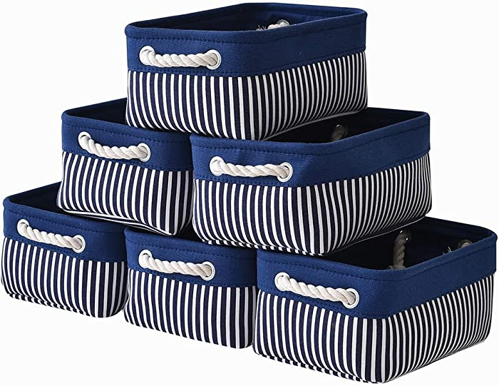 Canvas Storage Baskets [6-Pack] Small Fabric Storage Bins Toy Storage Baskets Empty Gift Baskets Shelf Baskets Decorative Basket with Rope Handles for Home Office(Navy Blue Stripes, 12 x 8 x 5 inch)
