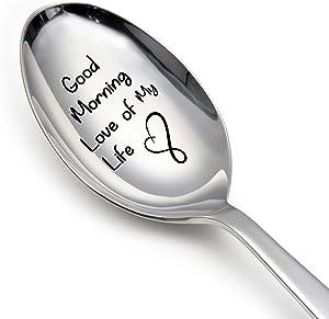 Cuchara de regalo («Good Morning Love of My Life», cuchara grabada, regalo de amor, regalo para novia, regalo de amor para marido, regalo de amor para esposa)