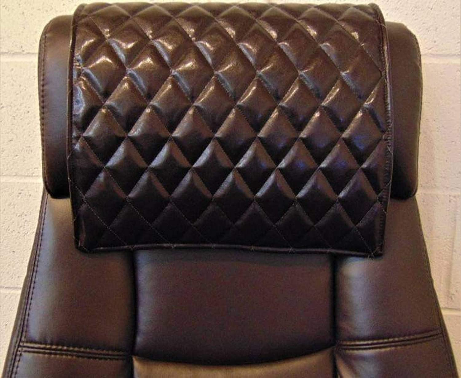Trimbark Padded Quilted Genuine Leather, Sofa, Loveseat, Chaise, Theater Seat, RV Cover, Chair, Headrest Pad, Recliner Head Cover, Protector Brown 14X26 Set of 1