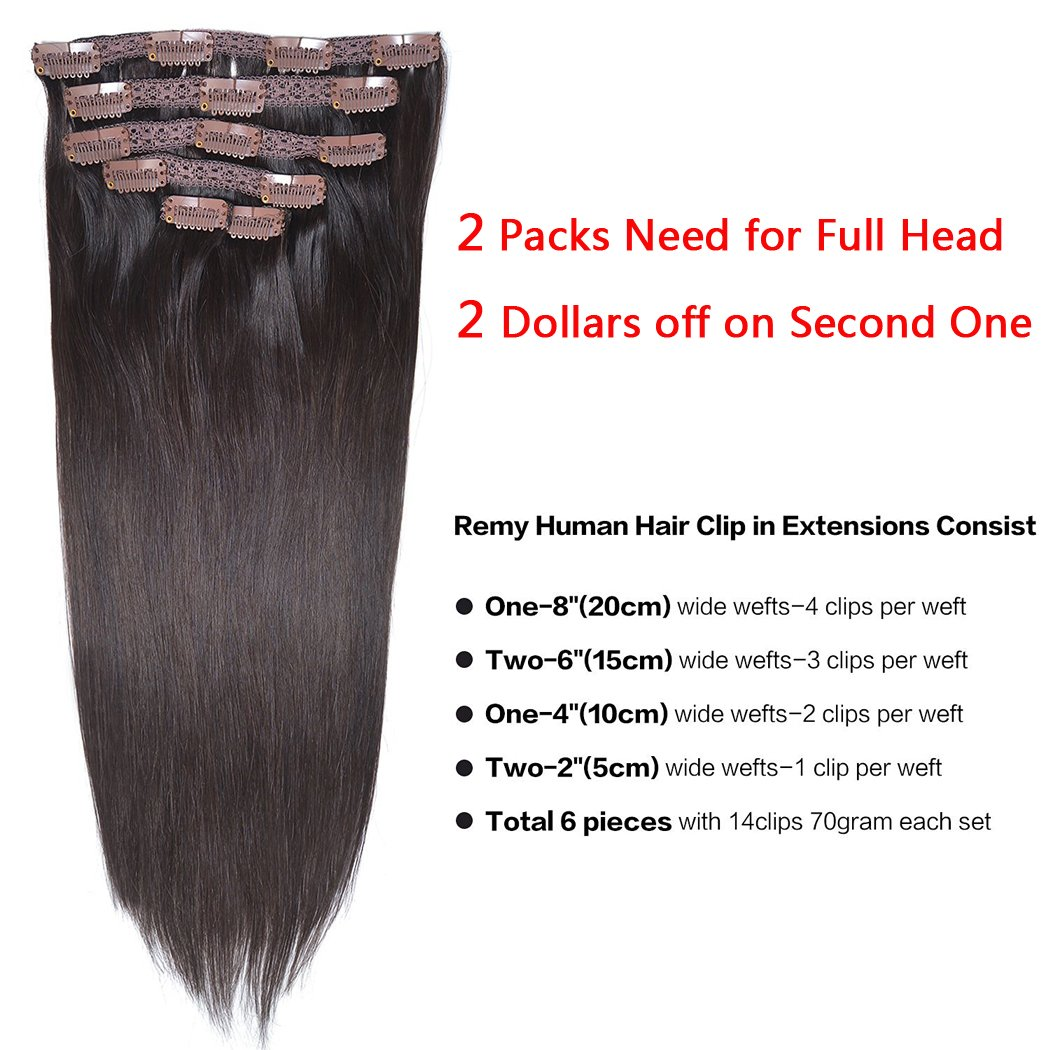 14'' Remy Human Hair Clip in Extensions for Women Dark Brown(#2) 6Pieces 70grams/2.45oz by BHF HAIR (Image #2)