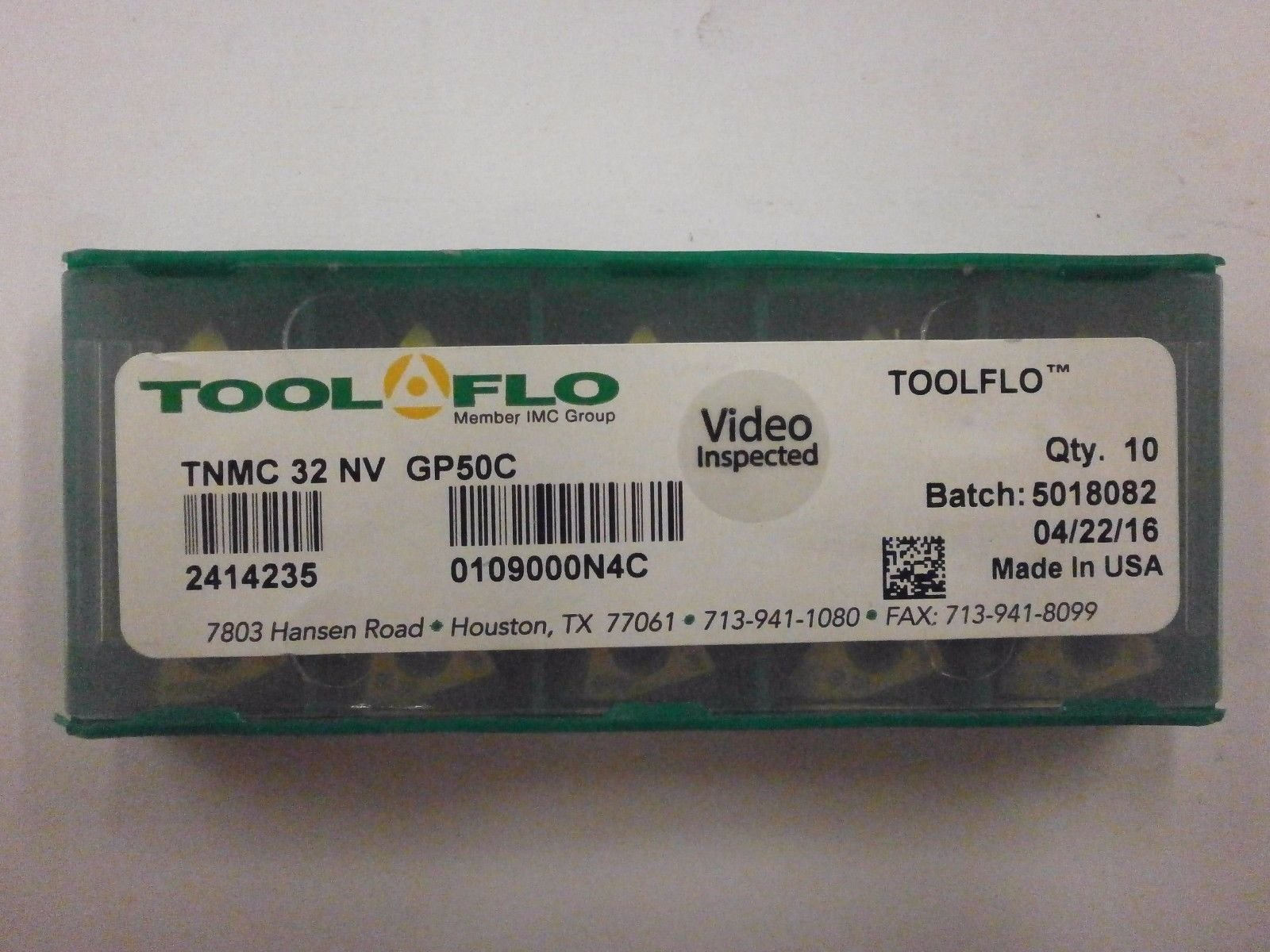 10pc) ToolFlo TNMC 32NV GP50C ON-EDGE Coated Carbide 60° V Threading Inserts