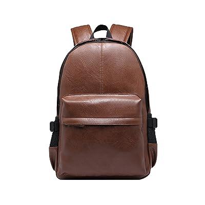 Leather Laptop Backpack Shoulder School Bag Camping Travel Casual Bag Daypack for Men