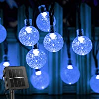 Solar String Lights Outdoor 60 Led 35.6 Feet Crystal Globe Lights with 8 Lighting Modes, Waterproof Solar Powered Patio…