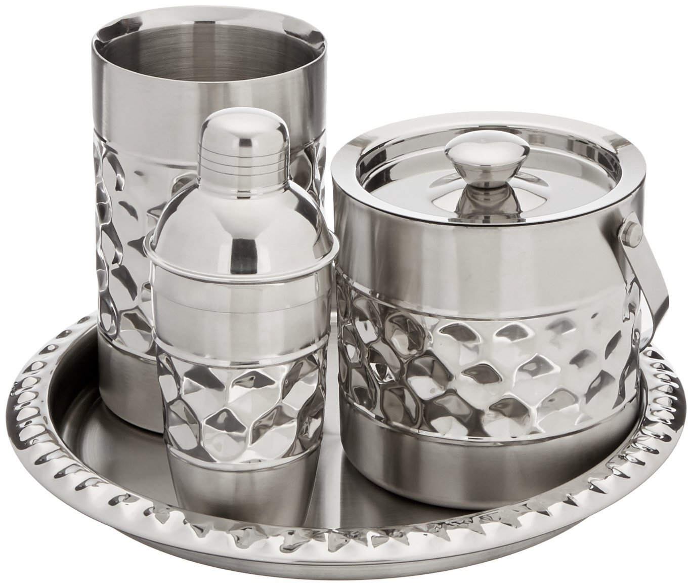 Cocktail Shaker and Serving Tray Wine Chiller Including Ice Bucket Francois et Mimi Stainless Steel Bar Tools Set
