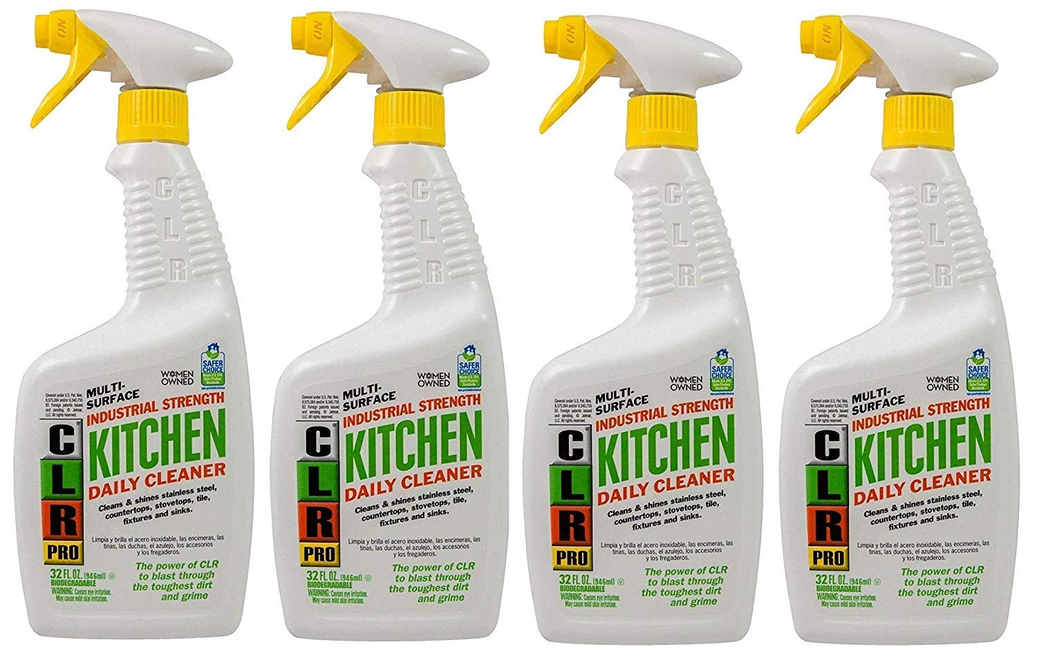 CLR Pro PB-KITCH-32PRO Multi Purpose Daily Kitchen Cleaner, 32 oz Trigger Spray. (4-(Pack))