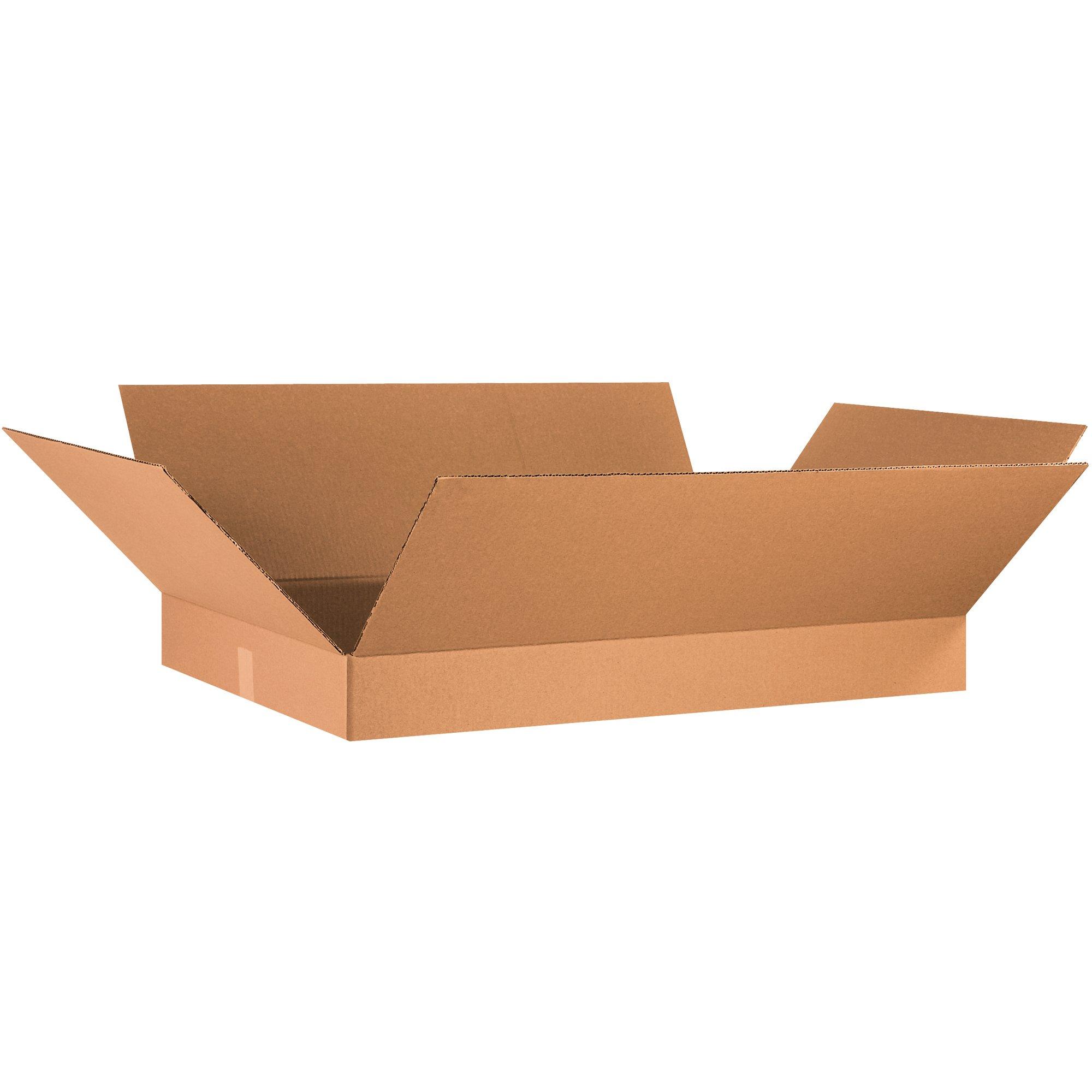 Aviditi 36244 Flat Corrugated Box, 36'' Length x 24'' Width x 4'' Height, Kraft (Bundle of 10)