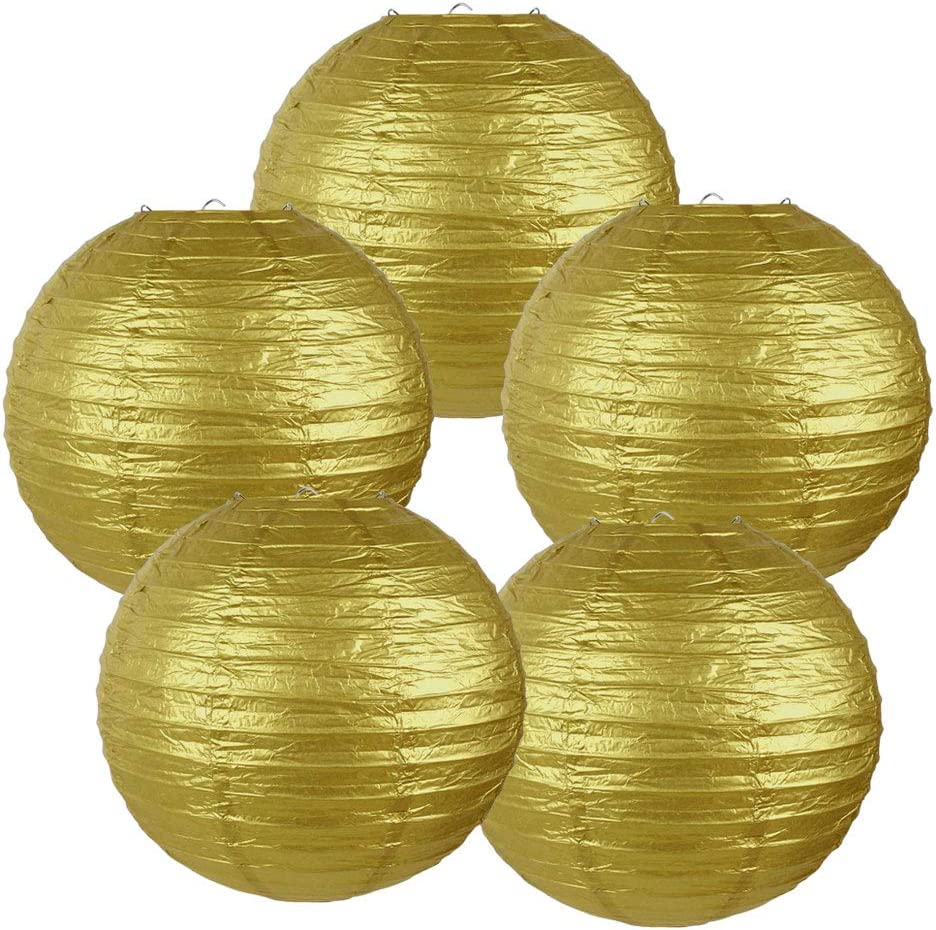 Just Artifacts 10-Inch Gold Chinese Japanese Paper Lanterns (Set of 5, Gold)
