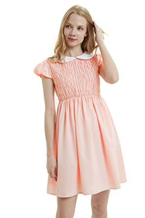 ade4187b3d010 Women's Pure Pink Peter Pan Collar Costume Dress Short Sleeve with Socks