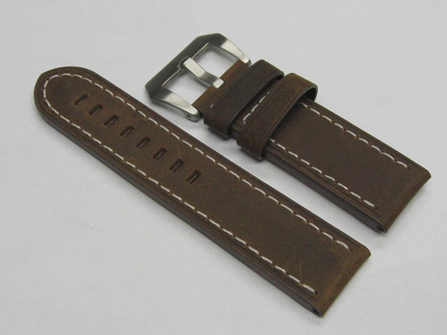 24 mm Cow Leather Strap Watch Band for Paneraiブラウン# 17 WS  B008UDA20W