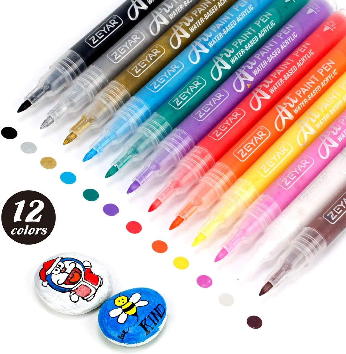 Bolígrafos de pintura acrílica ZEYAR punta extra fina, 12un