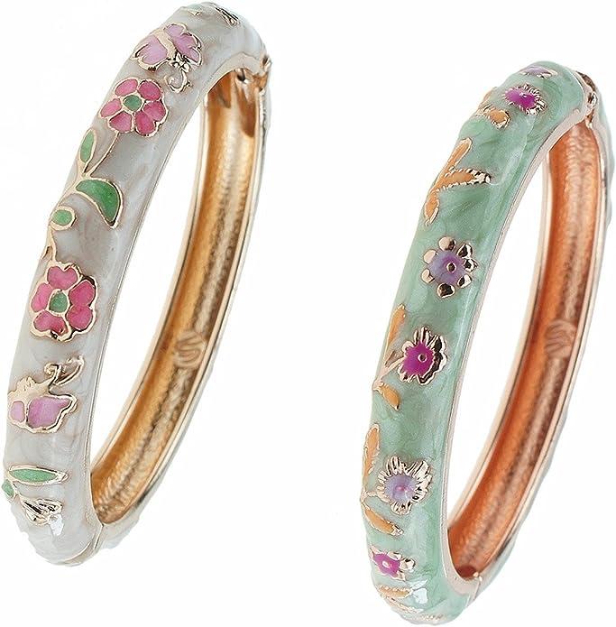UJOY Girls Cloisonne Jewelry Bangles Gold Plated Handmade Enamel Butterfly Flower Bracelets for Baby Child 55D12-55D14