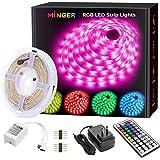 MINGER LED Strip Lights, 16.4ft RGB LED Light Strip 5050 LED Tape Lights, Color Changing LED Strip Lights with Remote for Hom