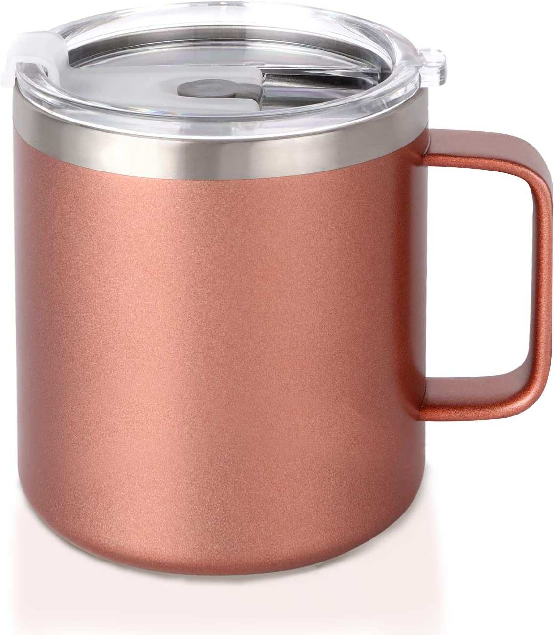 14oz. Travel Coffee Mug with Lid and Handle, Stainless Steel Vacuum Insulated Tea Cup for Home Office and Camping (Rose Gold)