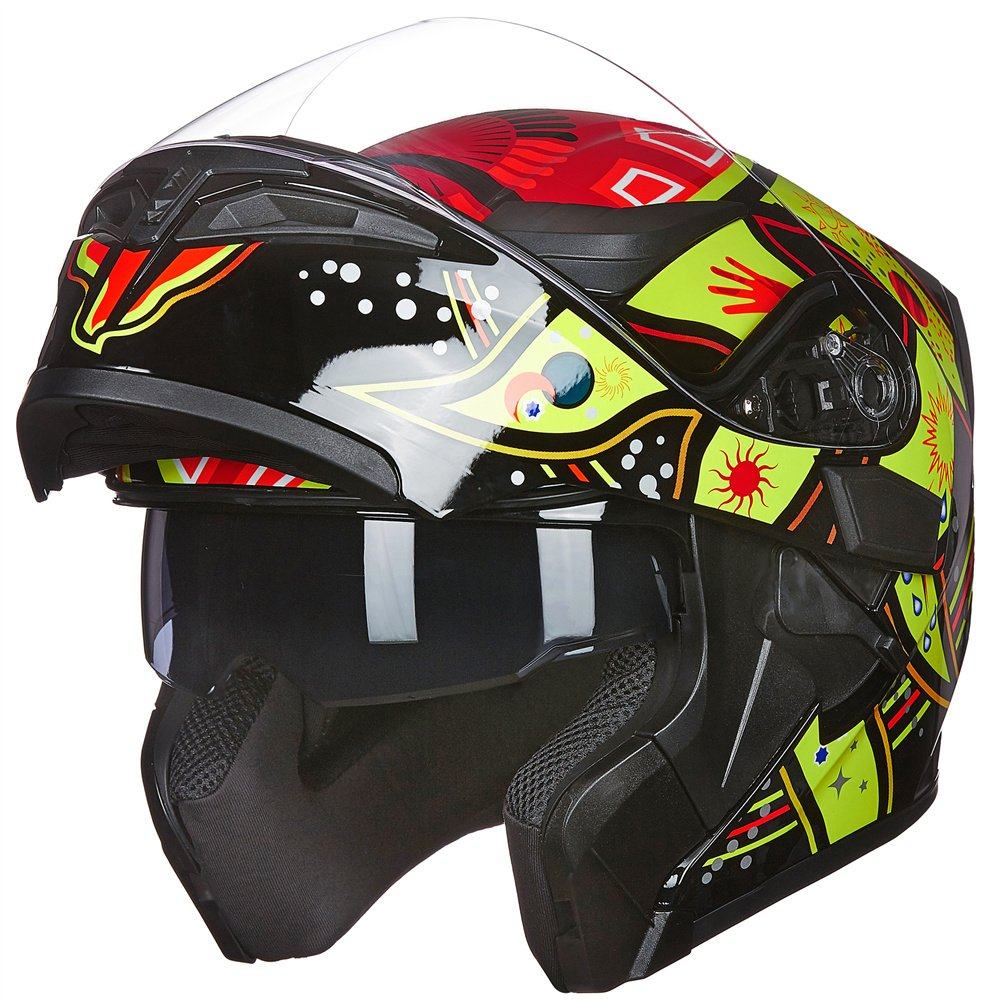 M, BLACK RED ILM Motorcycle Dual Visor Flip up Modular Full Face Helmet DOT with 6 Colors