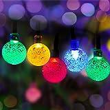 Luce con 50 Led con Panpany Solare Panpany 22 Piedi, Multi Colore, Bianco con Palline di Cristallo, Luci di Natale Decorative per il Giardino, Patio, Yard, Casa, Alberi di Natale e Tanto Altro