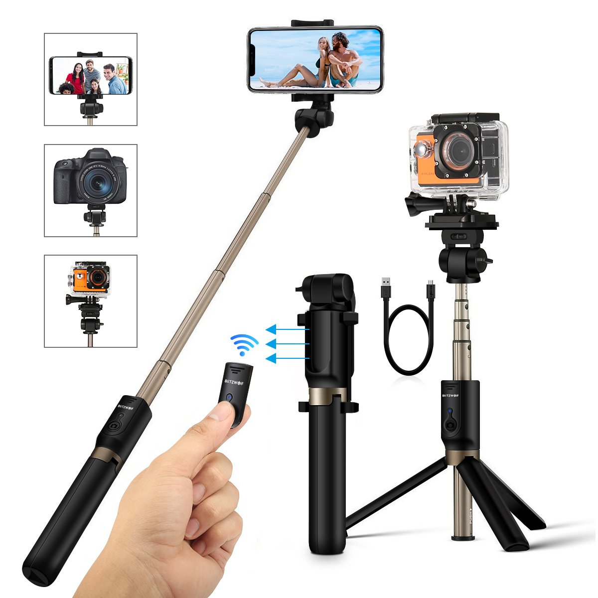 Selfie Stick Tripod with Remote and 1/4 Camera Mount Holder for Gopro Camera iPhone X 8 7 7plus 6s 6 5s Android Samsung 3.5-6 inch Smartphone - BlitzWolf 4 in 1 Extendable Monopod Mini Pocket Wireless Selfie Stick 360 ° Rotation Best Gifts