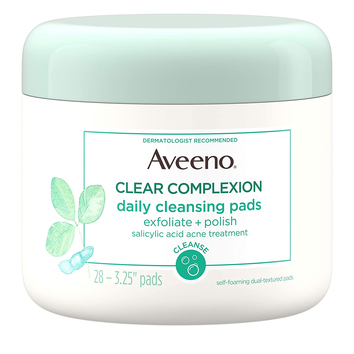 Aveeno Active Naturals Clear Complexion Daily Cleansing Pads with Moisture-Rich Soy Extracts, 28 pads