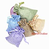 "M-W 25PCS 4"" x 6"" multicolor Burlap Gift Bag with"