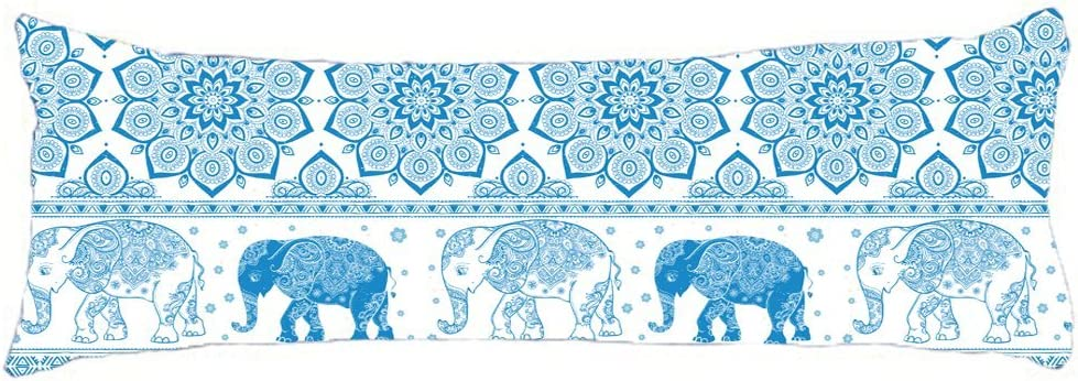 HollyNoirial Body Pillow Cover Cotton Long Body Pillow Case Hotel Home Decorative at Bed Mandala Elephant Blue Pillowcase 20x54 inch