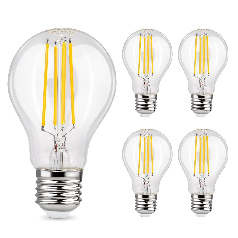 Albrillo LED E27 Lampe - 6W Ersetzt 70W   LED Classic Lampe E27 Filament   800 Lumen Lampen E27 in Kolbenform   Warmweiss 2700K   Filamentstil Klar   5er Pack
