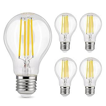 Albrillo Bombillas Globo de Filamento LED E27 - 6W equivalente a 70W, 800 lúmenes,