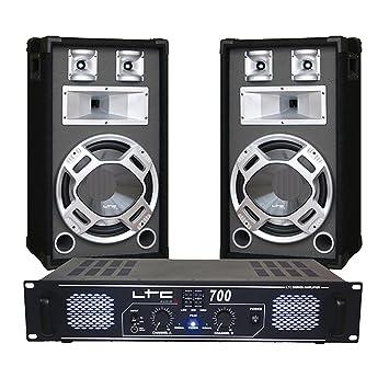 Pack 700w altavoces y amplificador con ecualizador