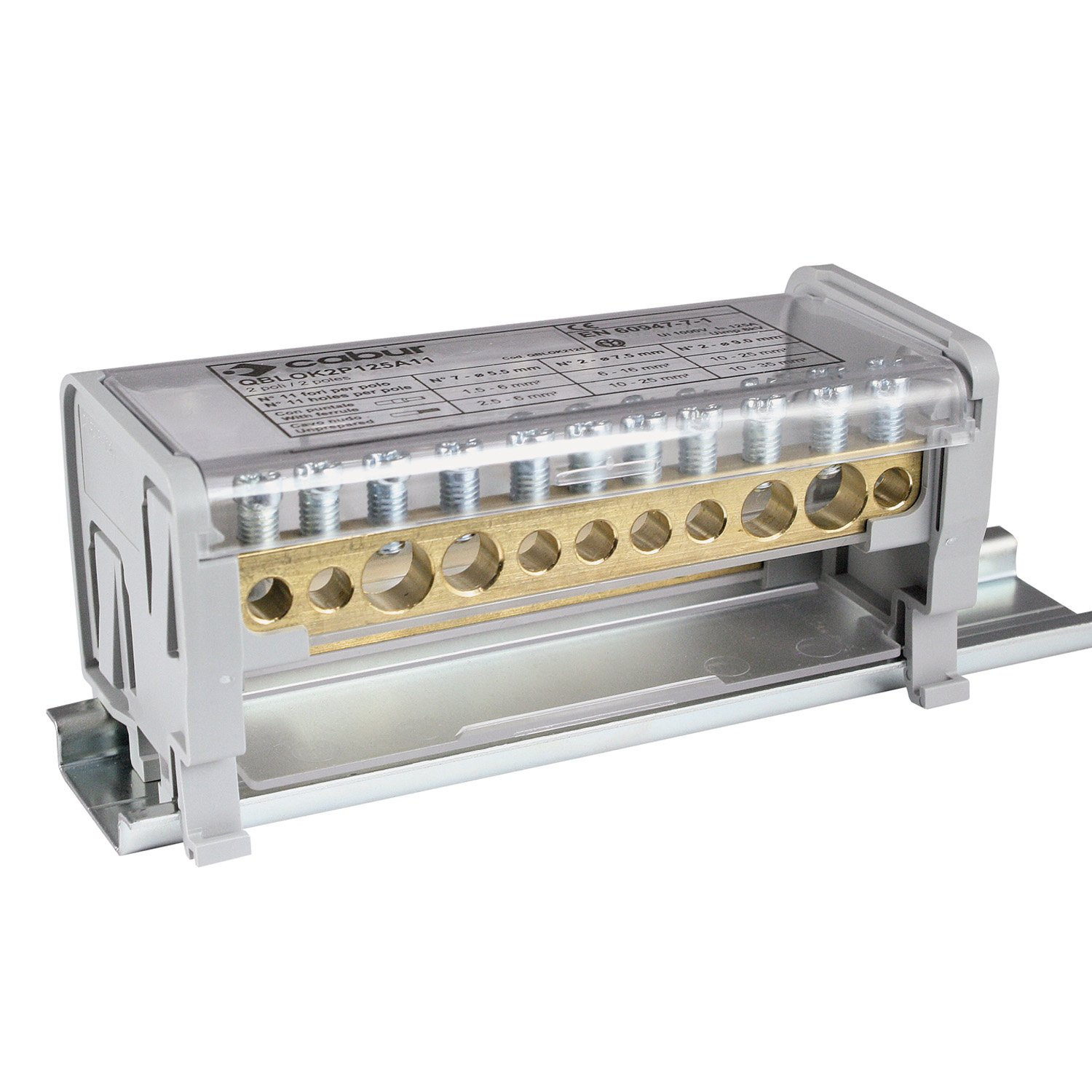 ASI QBLOK2125 Power Distribution Module, 2 Busbars, 125 Amp, 1000V, 11 Connections (Pack of 2)