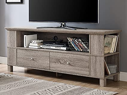 Amazon Com New 59 Inch Wide Driftwood Finish Tv Stand With Drawers