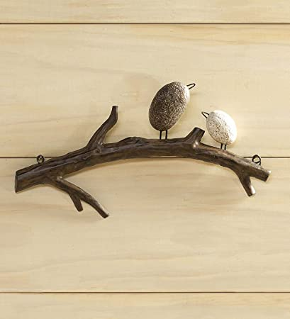 Wind Weather Birds On Branch Indoor Or Outdoor Wall Art Made Of Lightweight Metal 2 Birds