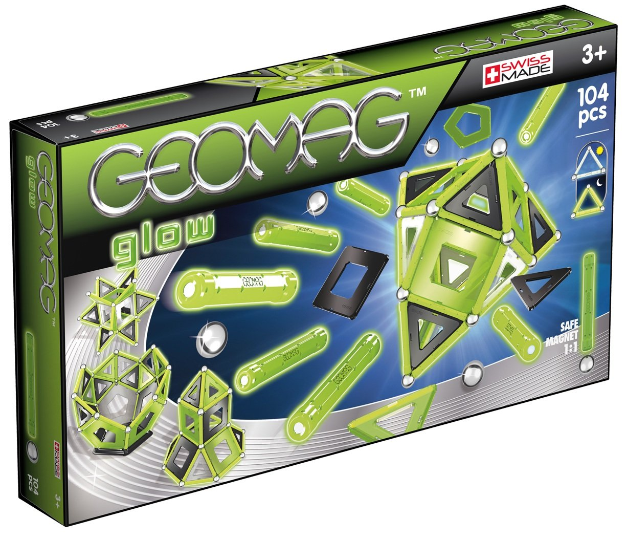Geomag Glow 104-Piece Glow-in-the-Dark Magnetic Construction Set
