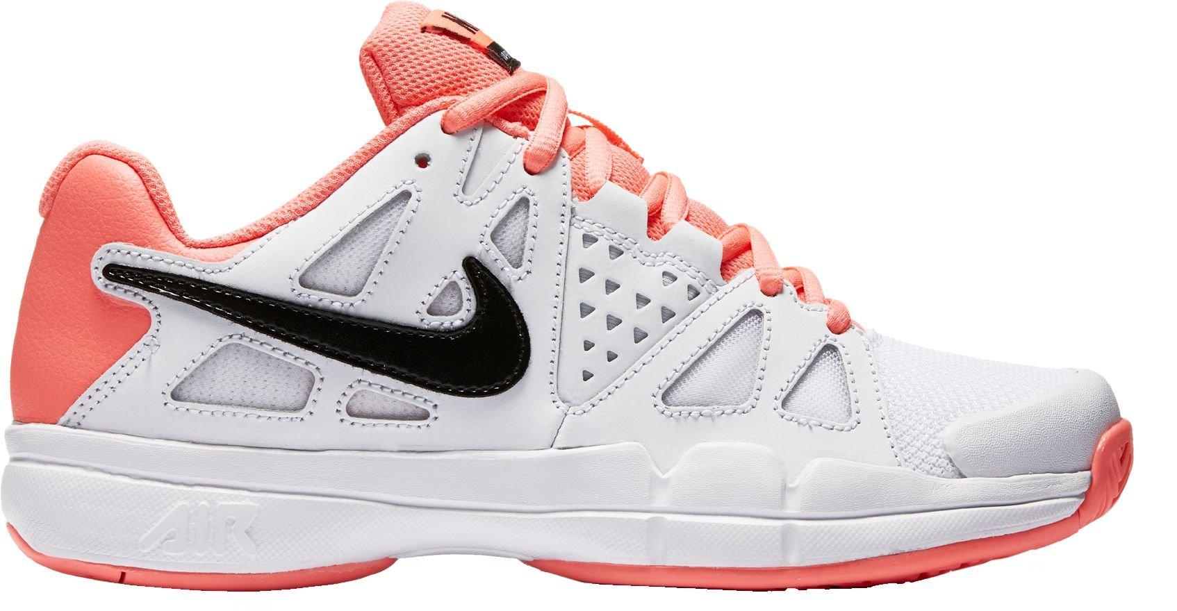 Nike Women's Air Vapor Advantage Tennis Shoe (White/Pink, 8)