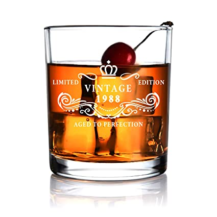 1988 30th Birthday Gift For Men And Women Whiskey Glass Anniversary Gifts