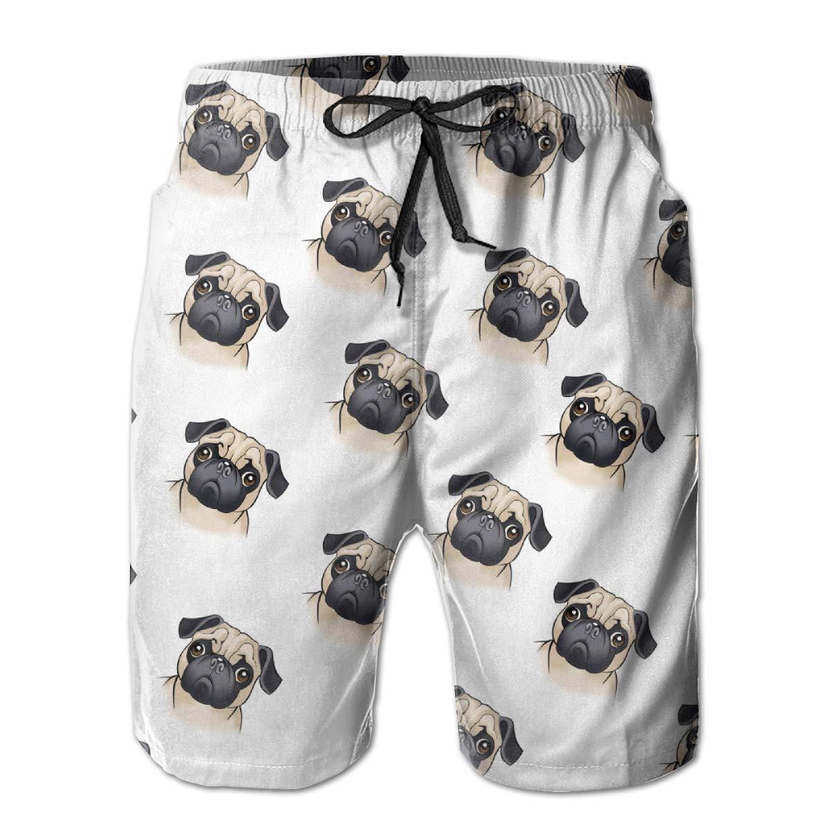 WMDJEG Cute Pug Pattern Mens Summer Beachwear Sports Running Swim Board Shorts Mesh Lining
