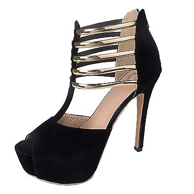 f8148e559ff Figoo Platform Pump High Heels Black Peep Toe T-Strap (U.S  4.5