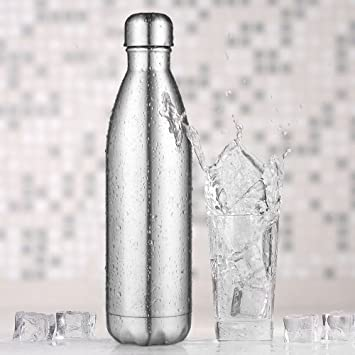 AuPower doble pared de vacío aislados de acero inoxidable botella de agua a prueba de mano portátil verano botella de deportes al aire libre