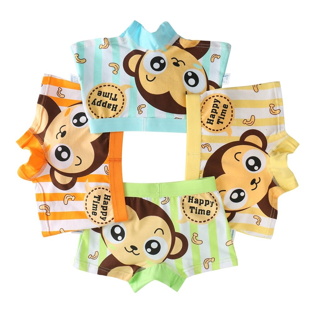 Goodkids Little Big Boys' Breathable Trim Cotton Boxer Briefs Underwear Monkey Pattern Panties