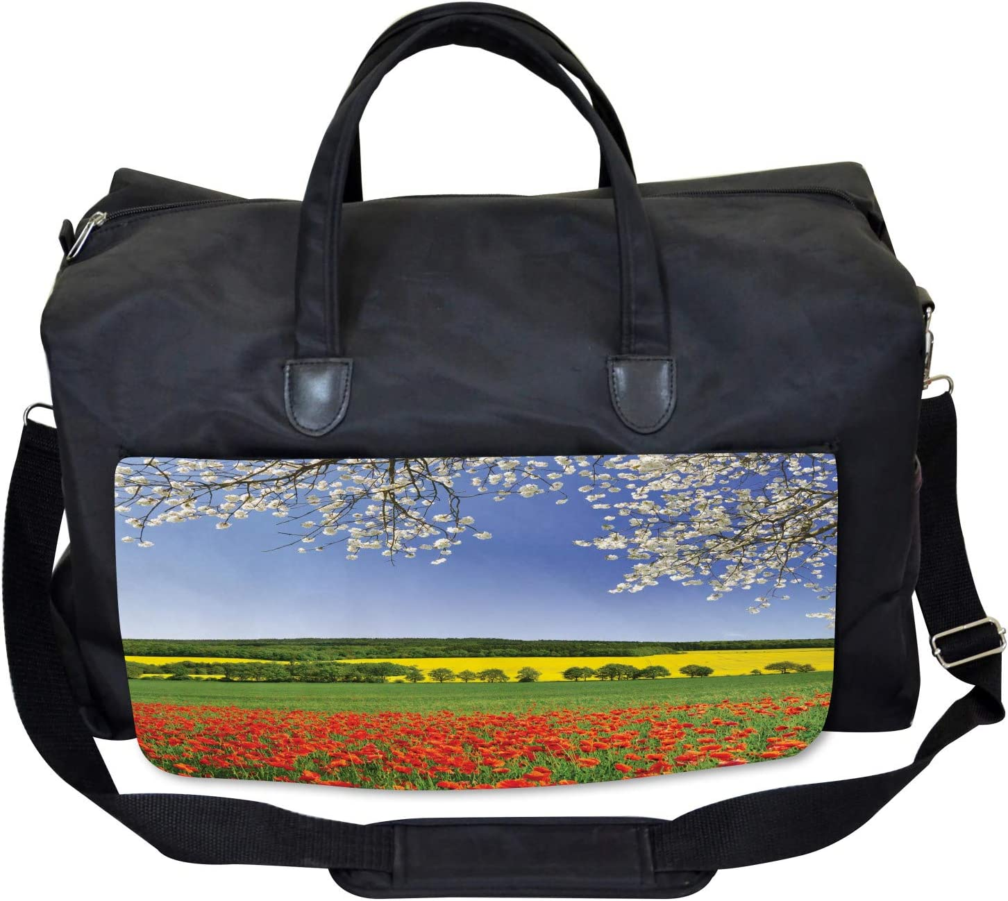 Ambesonne Colorful Gym Bag Poppy Field Landscape Large Weekender Carry-on