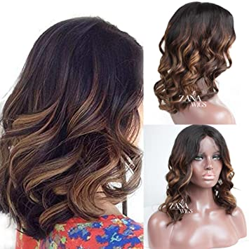 ZANA Ombre Human Hair Wigs Body Wave Brazilian Hair Lace Front Wigs Ombre  Highlight Color Short...