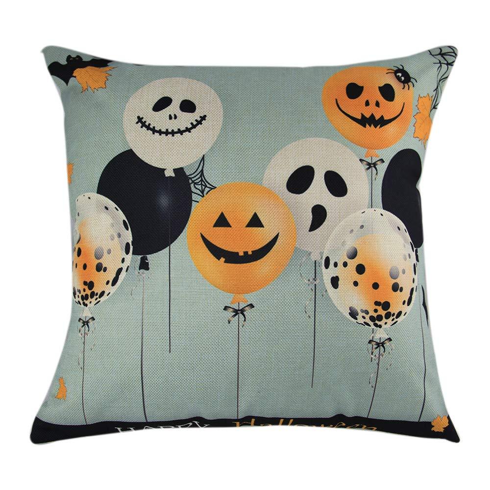 Hongxin Halloween Pillow Cases,Cotton Linen Balloon Ghosts Pattern Sofa Cushion Cover Home Decor (B, 45cm×45cm)