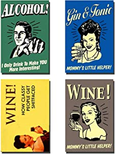 REFRIGERATOR MAGNET Set of 4 Alcohol Retro Funny Fridge Magnets - 005